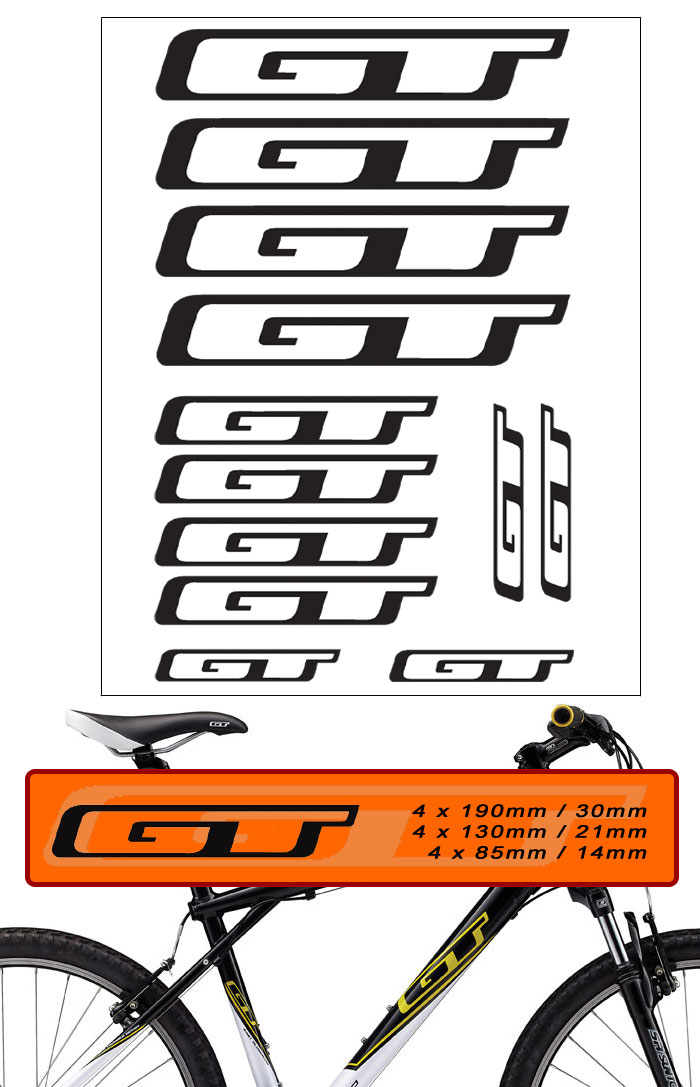 12 x GT BIKE DECALS - SET OF 12 BICYCLE FRAME REPLACEMENT VINYL ...